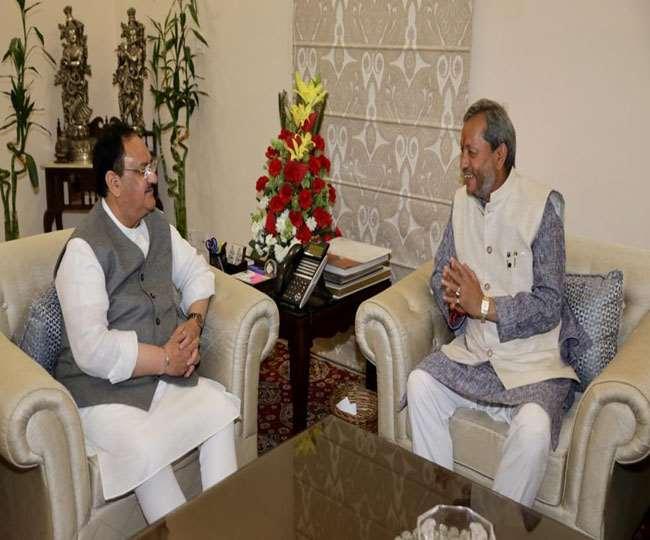 BJP के राष्ट्रीय अध्यक्ष जेपी नड्डा से मिले मुख्यमंत्री तीरथ सिंह रावत , कुंभ के लिए किया आमंत्रित