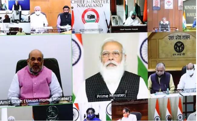 देश के 70 जिलों में 150% बढ़े कोरोना के मामले, PM मोदी की मुख्यमंत्रियों संग बैठक जारी