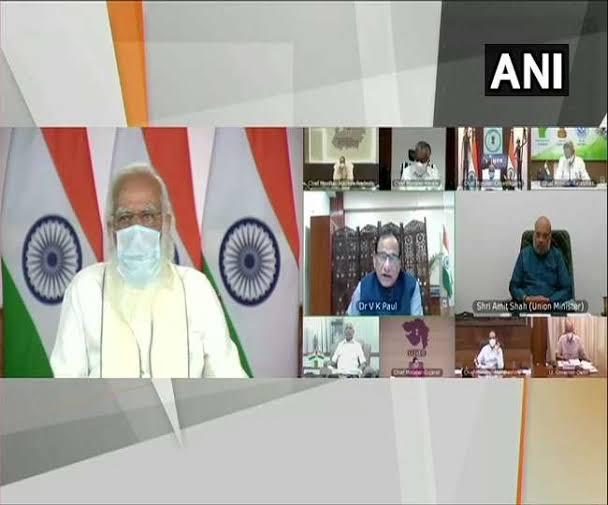 कोरोना संकट के बीच दस राज्य के मुख्यमंत्रियों के साथ प्रधानमंत्री मोदी ने की बैठक, लिया हालात का जायजा