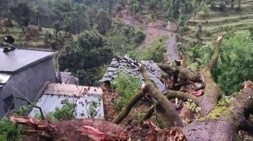 बागेश्वर में भारी बारिश के बीच मकान पर गिरा पेड़, 2 लोगों की मौत
