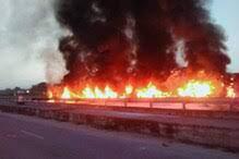 अजमेर में सड़क हादसा : दो ट्रकों में टक्कर के बाद लगी आग, चार लोगों की जलकर मौत